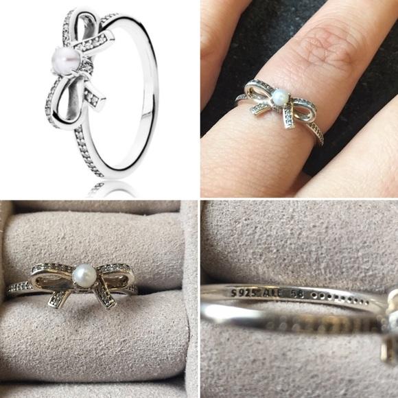 f4985eb31 Pandora Jewelry | Delicate Sentiments Pearl Bow Ring | Poshmark